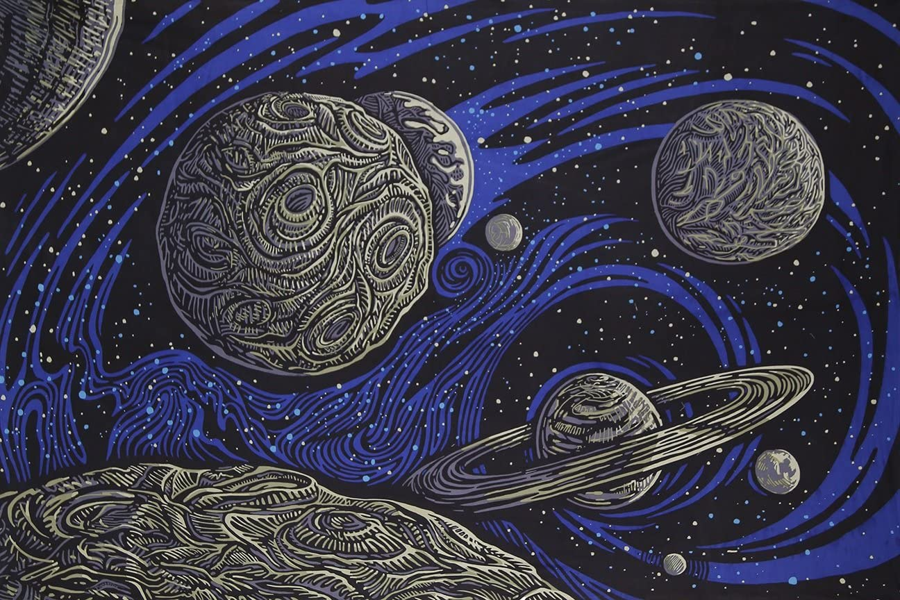 Sunshine Joy 3D Galactic Outer Space Planetary Psych Art Tapestry Wall Hanging Huge 60×90 Inches