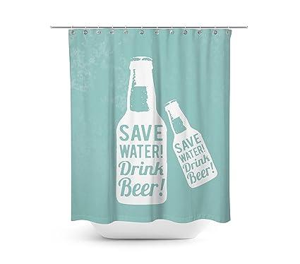 Livilan Summer Beer Shower Curtain Set 708quot X Mildew Mold Resistant Waterproof