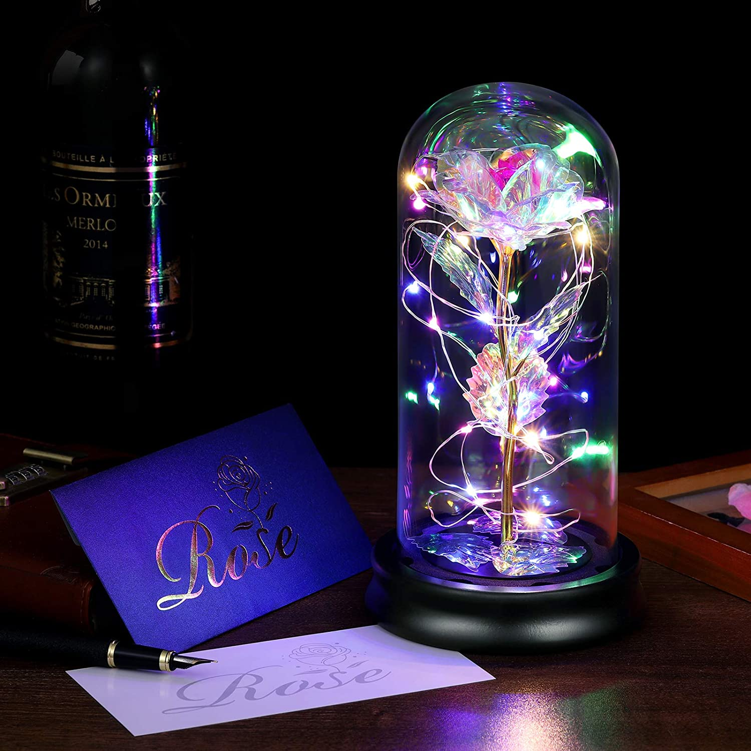 Flower Led Light, Beauty and The Beast Rose in Glass with Colorful Decorative Lamp Flower Gift