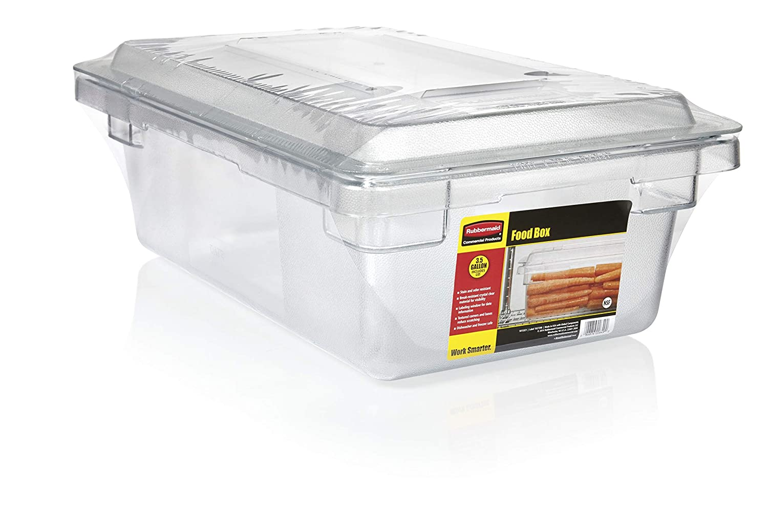 Rubbermaid Commercial Products 1815321 Food/Tote Box Storage Container with Lid, Plastic, Clear (Pack of 2)