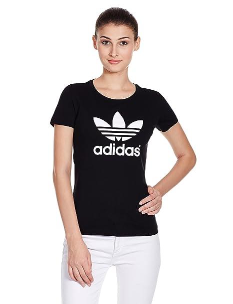 adidas, Maglietta Donna Trefoil, Nero (Schwarz/Weiß), 40 ...