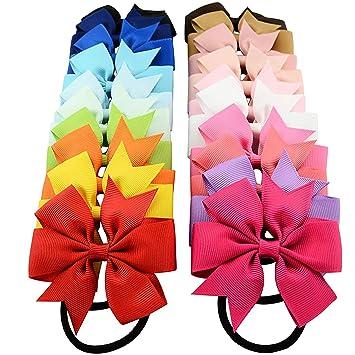 10 PCS Kids Baby Girl/'s Mixed Colors Hair Bow Ribbon Ponytail Holder Rubber Band