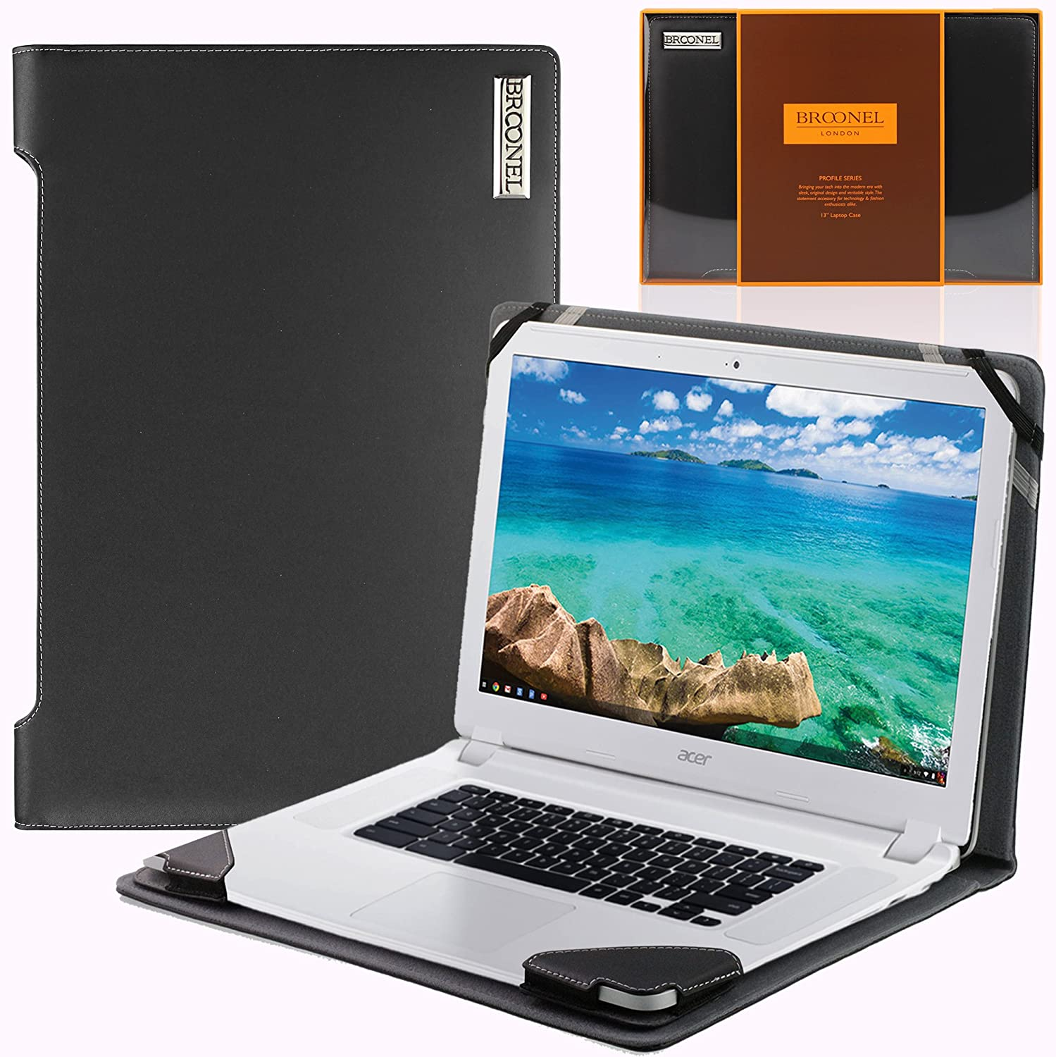 Broonel London - Profile Series - Black Vegan Leather Luxury Laptop Case Cover Sleeve Compatible with The Acer Chromebook CB5-571 15.6""