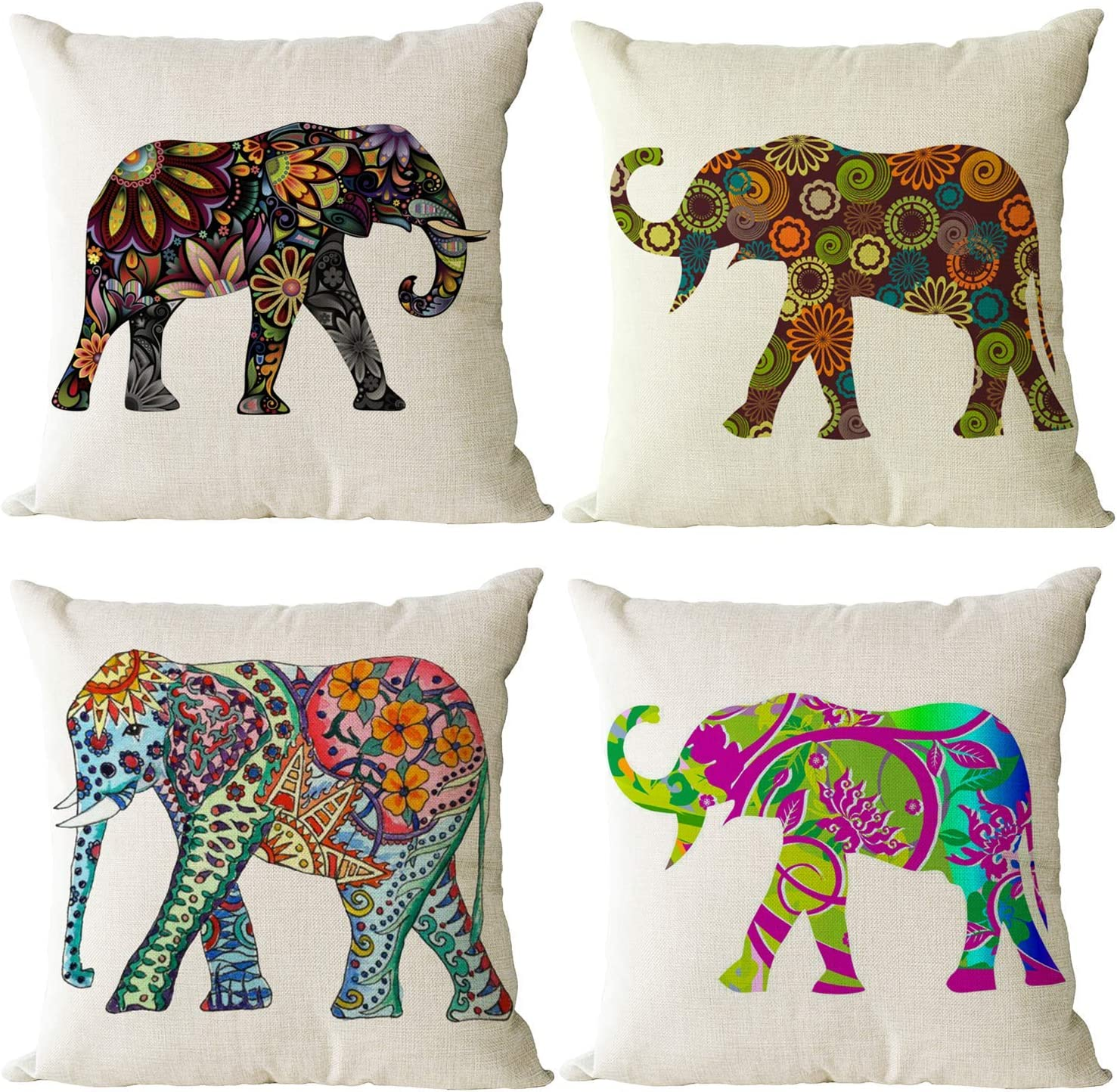 Amazon Com Yeeju Set Of 4 Elephant Decorative Throw Pillow Covers Square Cotton Linen Cushion Covers Outdoor Couch Sofa Home Pillow Cases 18x18 Inch Home Kitchen