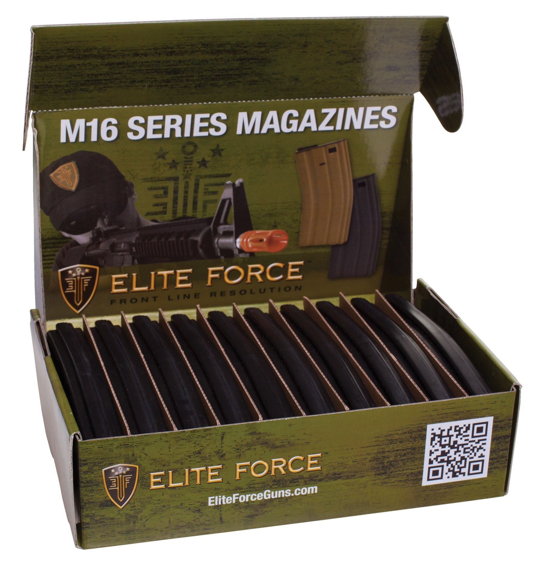 Elite Force M4 and M16 6mm BB Airsoft Gun Magazine, Black (140 Rounds), Pack of 10 by Elite Force