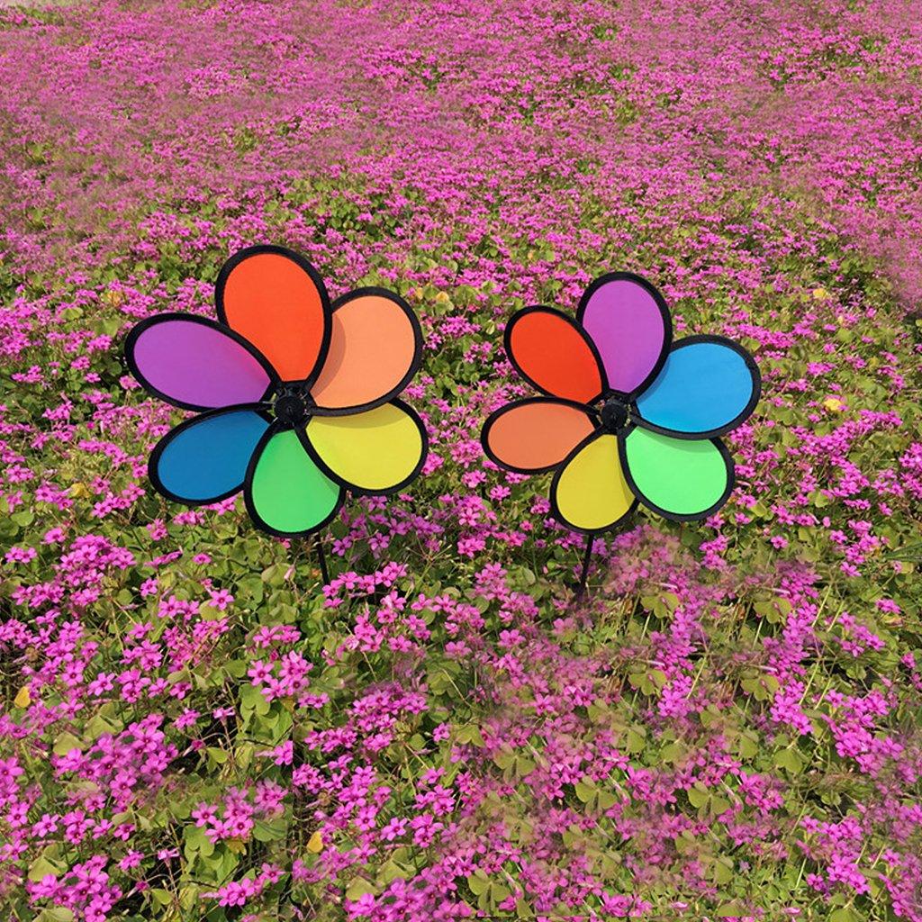Fogun colorido arco/íris flor molinillo de viento Spinner jard/ín patio exterior decoraci/ón