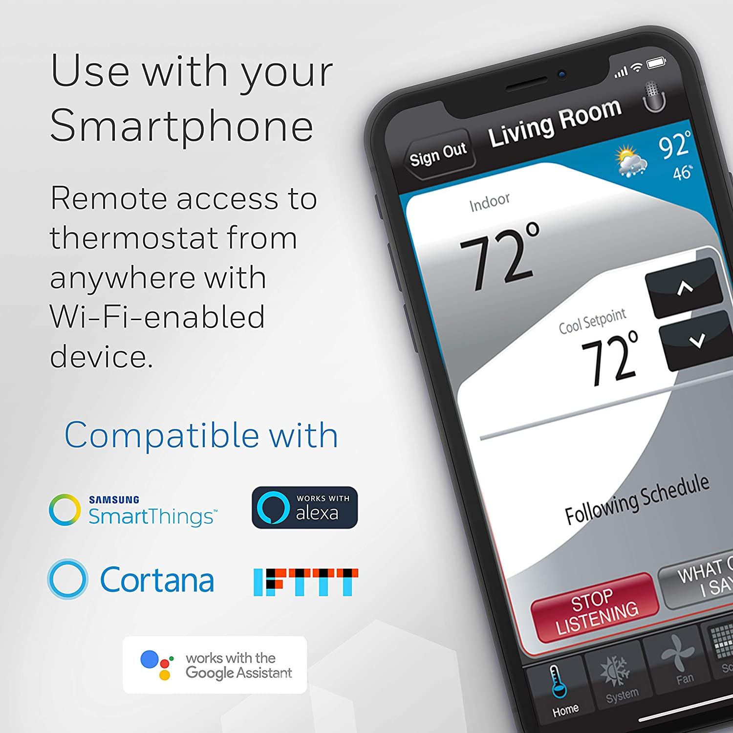 Honeywell RTH9585WF Wi-Fi Smart Color Thermostat 7 Day Programmable Energy Star Touch Screen Alexa Enabled RTH9585WF1004//W