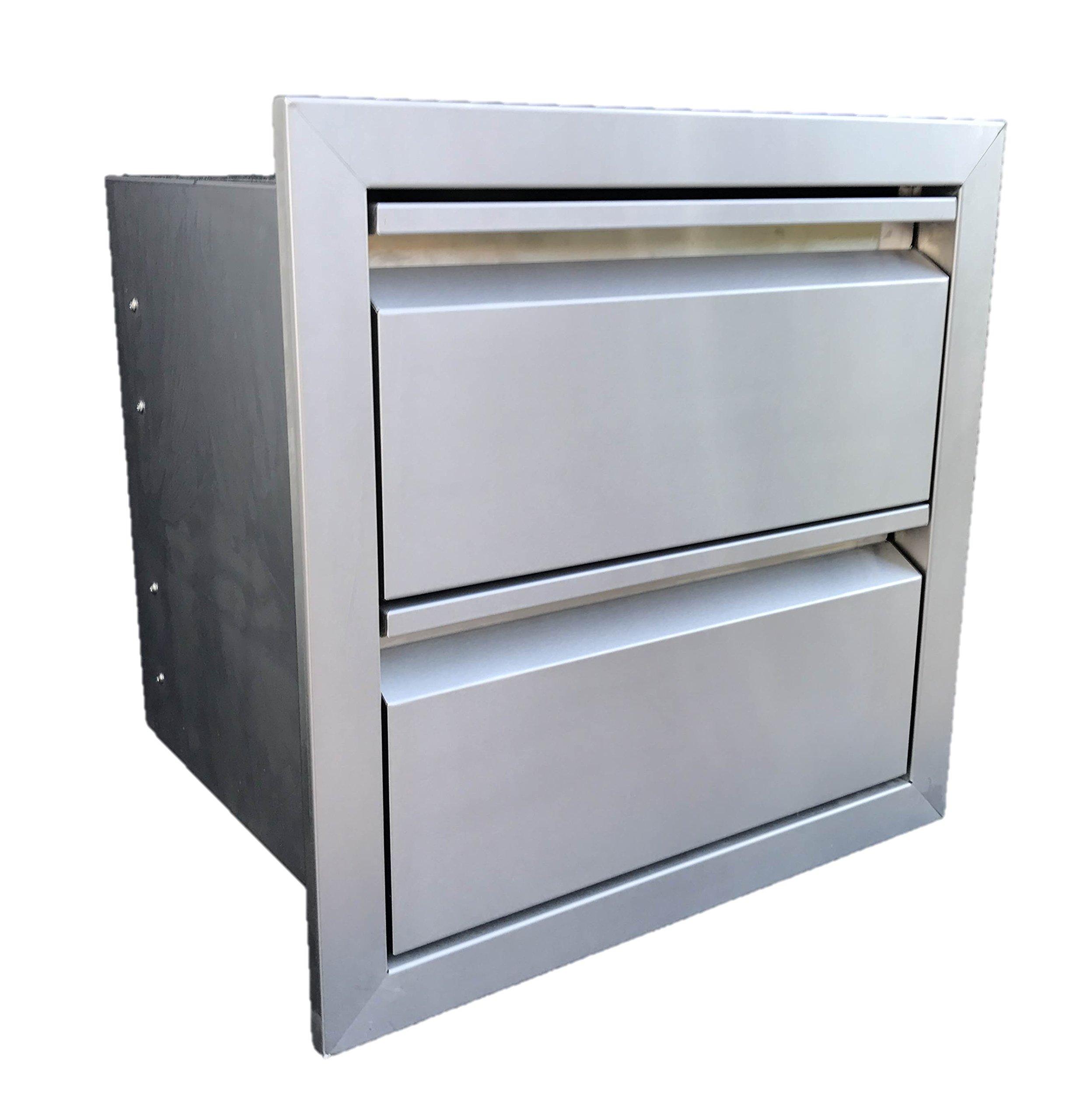 19'' W x 19'' H Double Access Drawer Outdoor Kitchen BBQ Island 304 Stainless Steel Storage