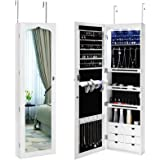 SONGMICS LED Jewelry Cabinet Armoire 6 Drawers Lockable Door Mounted Jewelry  Organizer With White UJJC88W