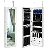 Amazon Price History for:SONGMICS LED Jewelry Cabinet Armoire 6 Drawers Lockable Wall Door Mounted Jewelry Organizer with Mirror White UJJC88W