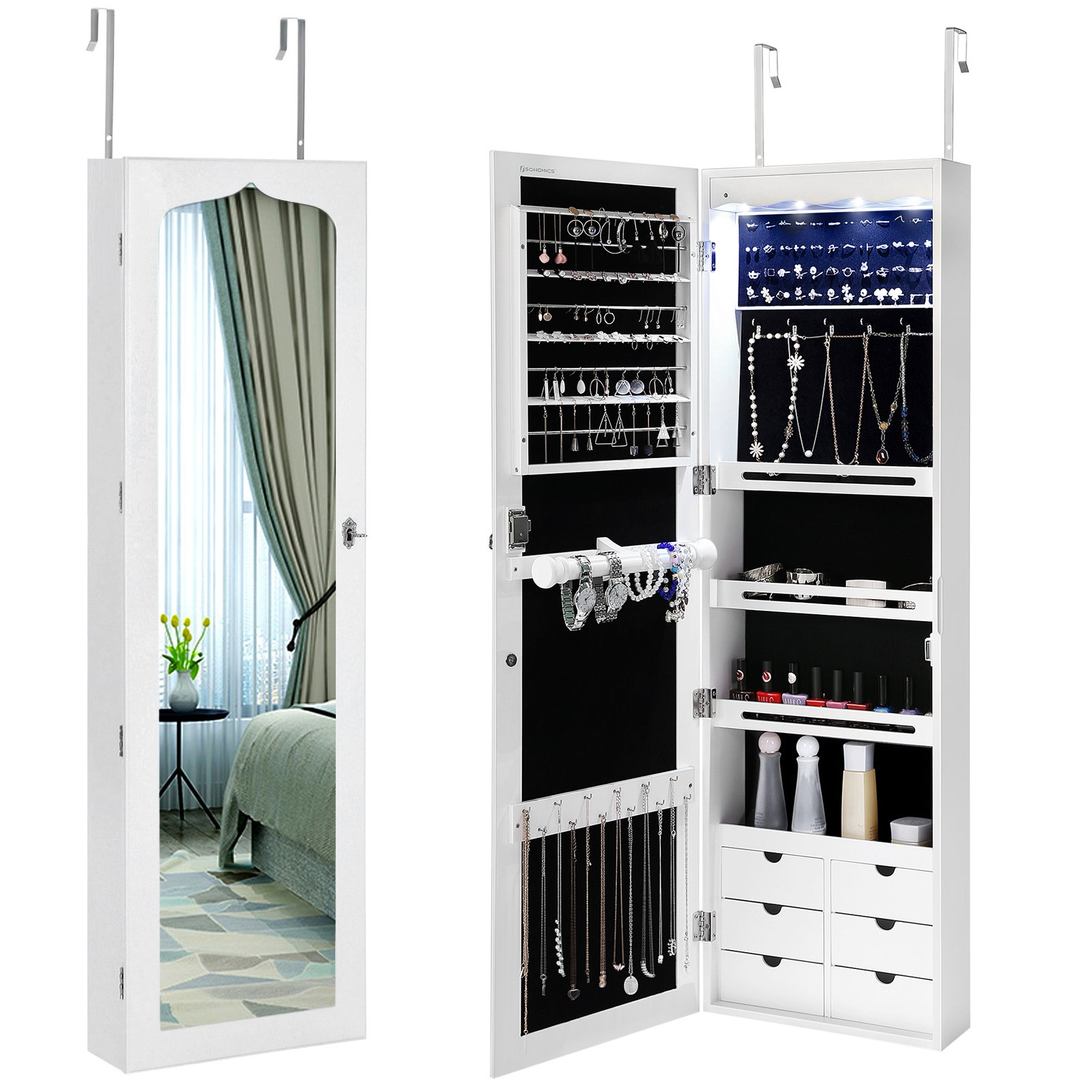 SONGMICS LED Jewelry Cabinet Armoire 6 Drawers Lockable Door Mounted Jewelry Organizer with White UJJC88W by SONGMICS