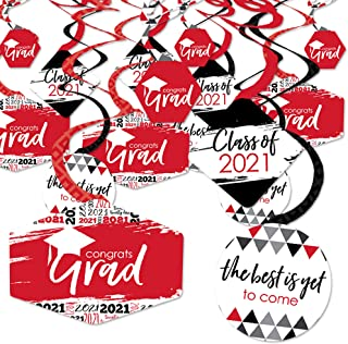 product image for Big Dot of Happiness Red Grad - Best is Yet to Come - 2021 Red Graduation Party Hanging Decor - Party Decoration Swirls - Set of 40