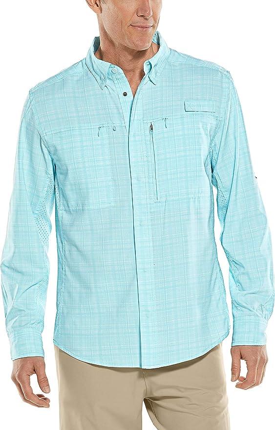 Shirt L Blue Coolibar Mens Merino Wool Blend Suntec UPF 50