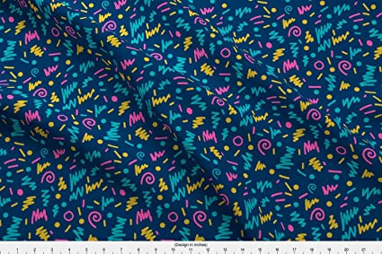 Spoonflower 80S Fabric - 80S Edgy Memphis Cool Kids 90S Shapes - by  Charlottewinter Printed on Basic Cotton Ultra Fabric by The Yard
