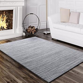 Paco Home Teppich Wohnzimmer Modern Glitzergarn Gestreift Linien Kurzflor  Meliert Grau, Grösse:120x170 Cm