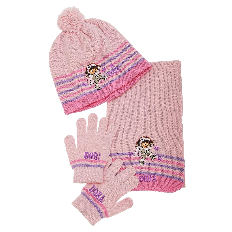 Childrens Girls Dora The Explorer Striped Bobble Hat, Gloves & Scarf 3 Piece Set rubies UTGL261_3