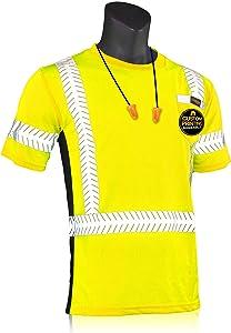 KwikSafety (Charlotte, NC) RENAISSANCE MAN Short Sleeve (w/POCKET) Class 2 ANSI High Visibility Safety Shirt Fishbone Reflective Tape Construction Security Hi Vis Clothing Men | Yellow X-Large