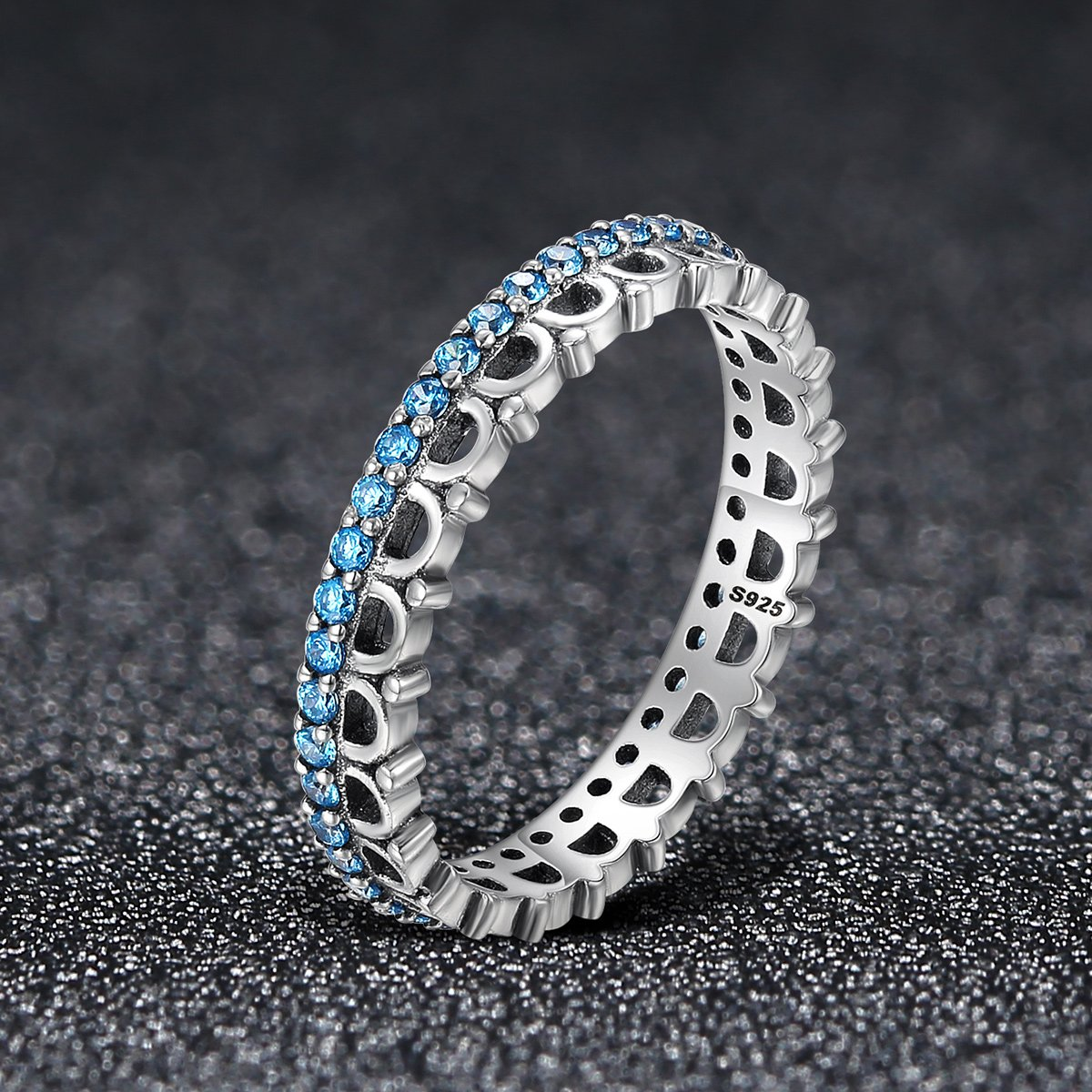 The Kiss Dancing Melody Sparking 925 Sterling Silver Ring Blue CZ