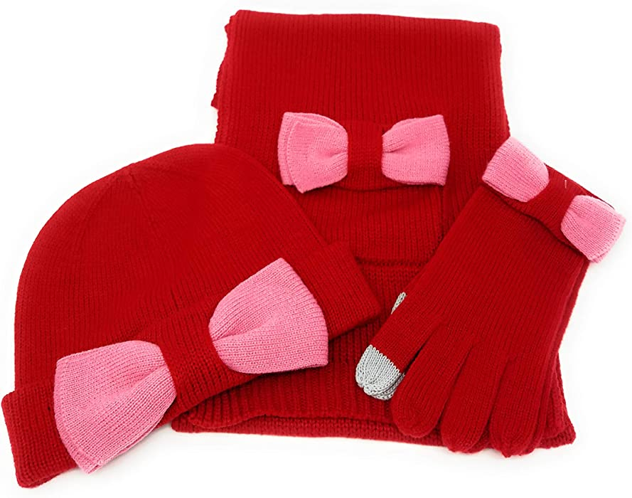 efbbef330f34fe Kate Spade Scarf, Beanie and Gloves Set - Charm Red with Colorblock Pink Bow  at Amazon Women's Clothing store: