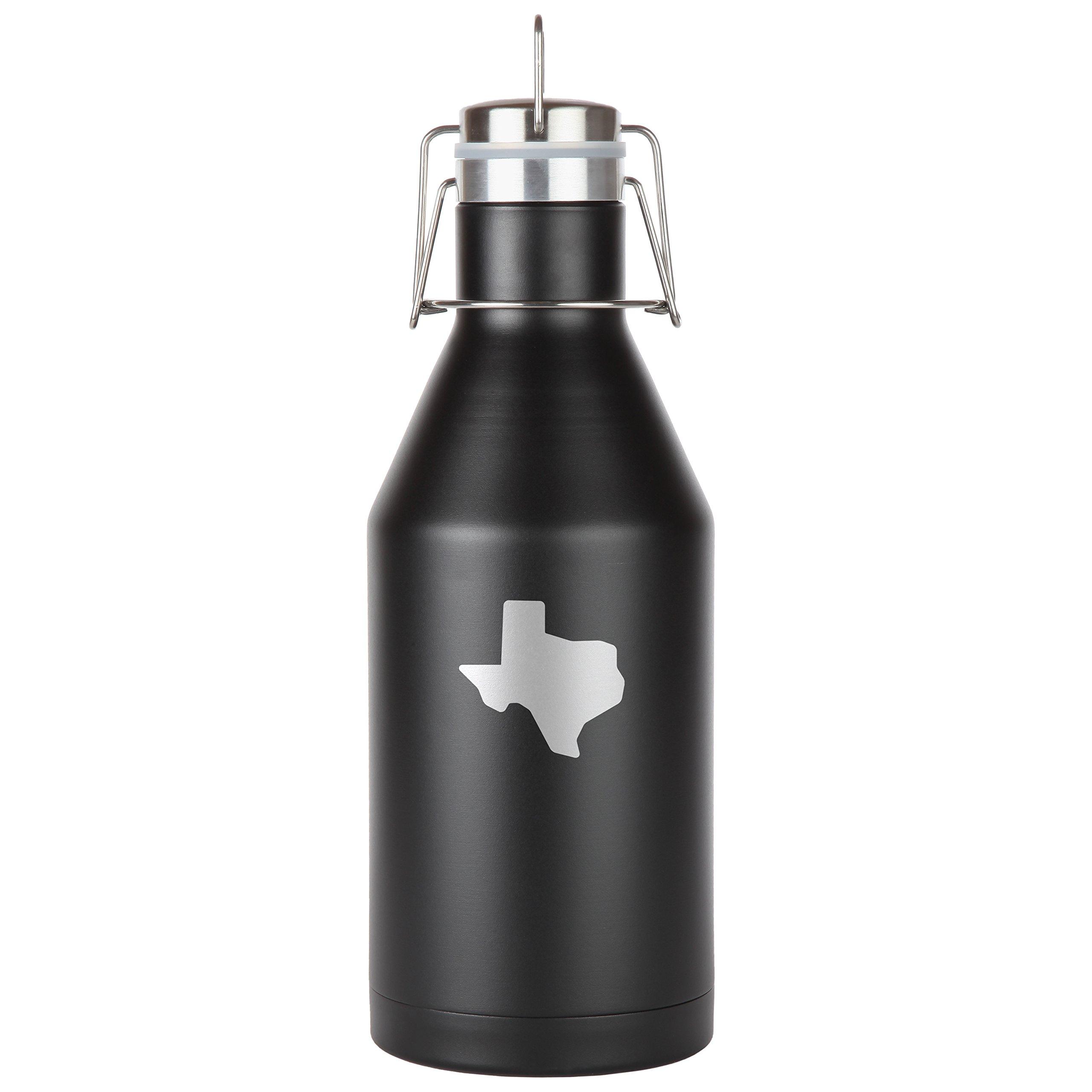 Texas Stainless Steel Beer Growler. 64 Oz Leak Proof Vacuum Sealed Beer Growler. Laser Engraved In The Usa