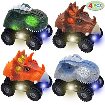 JOYIN 4 PCs Dinosaur Cars with LED Light & Sound, Monster Truck Playset for Kids Birthday Party and Easter Gifts: Toys & Games