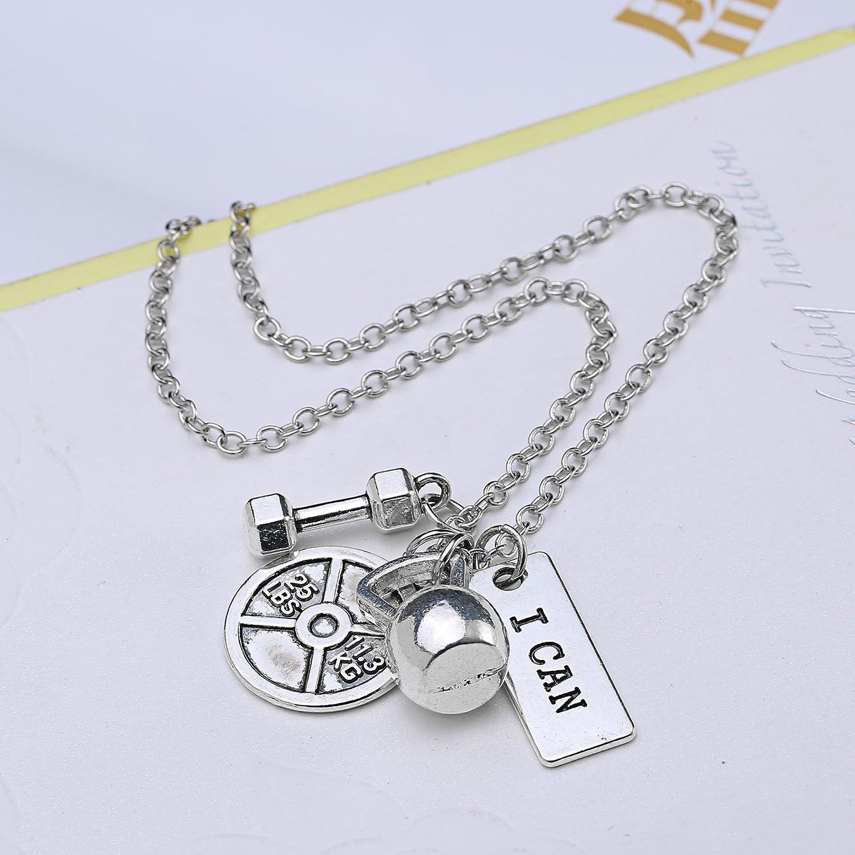 Rinhoo, set di gioielli composto da collana, bracciale e portachiavi con  ciondoli a forma di pesi da palestra, in acciaio inossidabile, per gli  amanti della ...