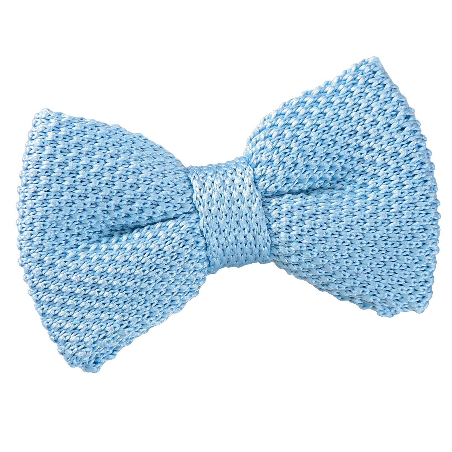 DQT Knit Knitted Plain Solid Baby Blue Classic Mens Pre-Tied Bow Tie