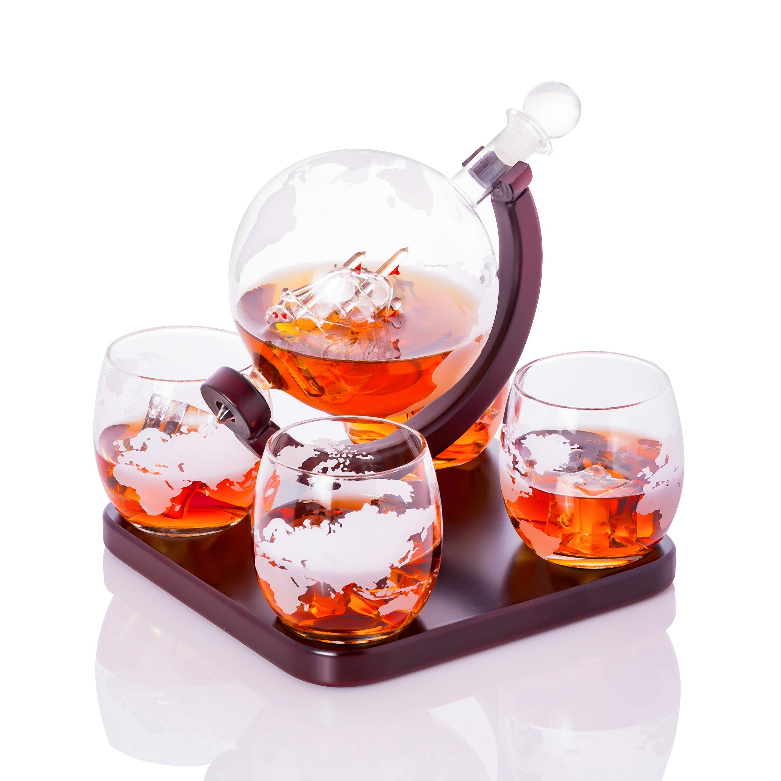 Old World Handblown Artisan Etched World Globe for Whiskey Scotch Bourbon and Fine Spirits Decanter Carafe 850mL with a Beautiful Glass Handmade Pirate Ship Inside by Sunday Rock