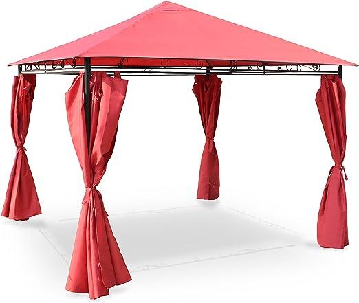Alices Garden - Pergola con cortinas 3x3m - Rojo: Amazon.es: Jardín