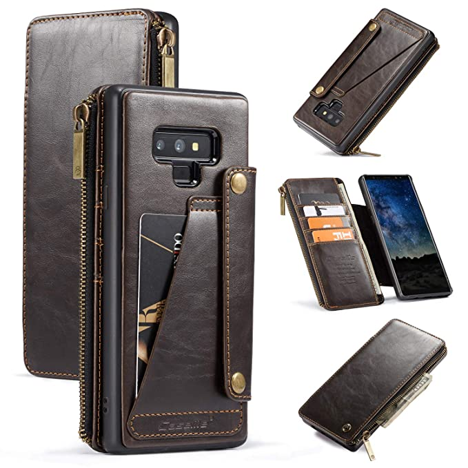 new concept 56fd8 d82dd Samsung Galaxy Note 9 Wallet Case, 2-in-1 Detachable Premium Leather Wallet  Case with 5 Card Holder Slots & Smooth Zipper Wallet, Durable Protective ...