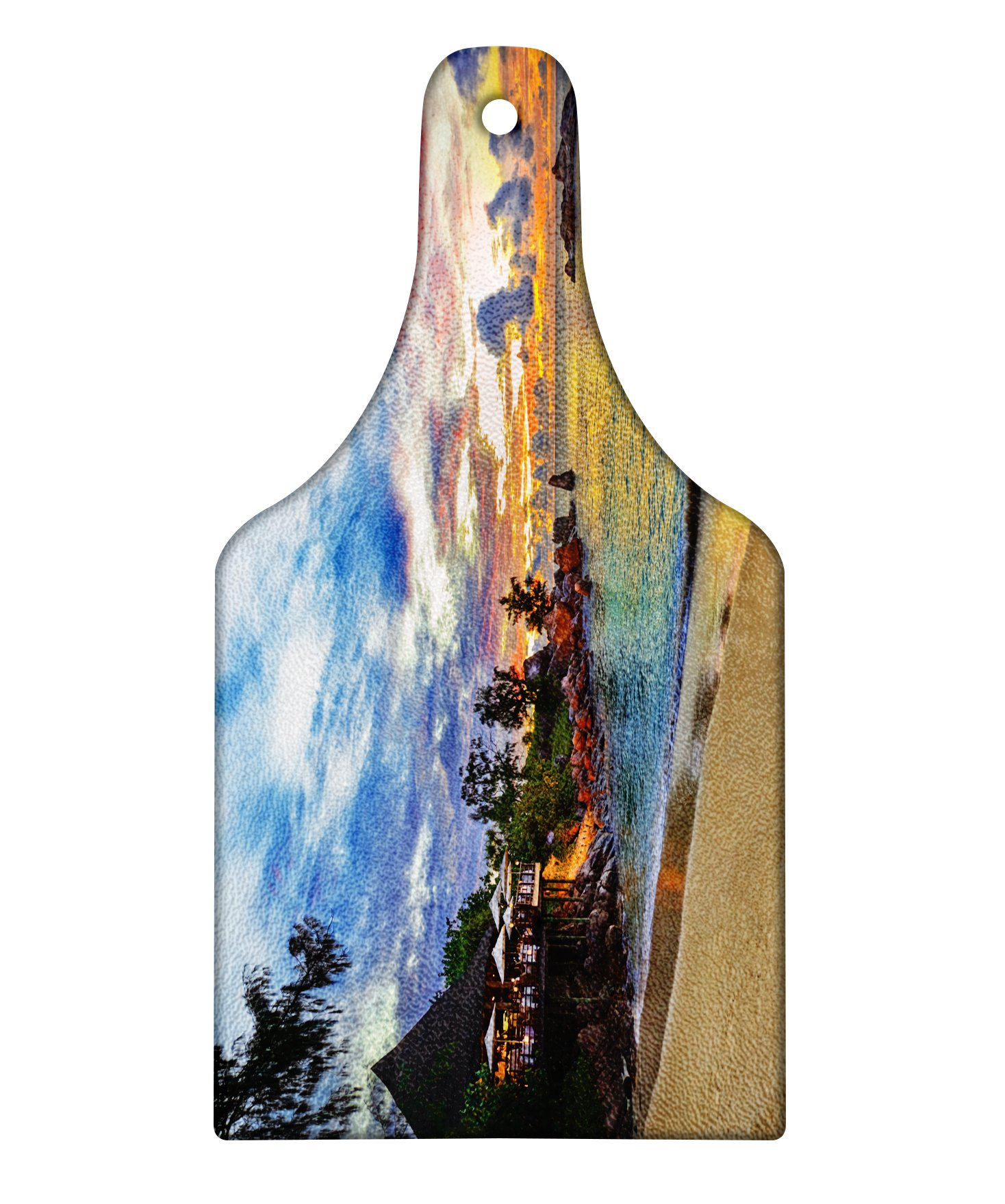 Lunarable Tropical Cutting Board, Cafe on Tropical Beach at Sunset Hotel Restaurant Cliff Romance Lagoon Travel, Decorative Tempered Glass Cutting and Serving Board, Wine Bottle Shape, Multicolor