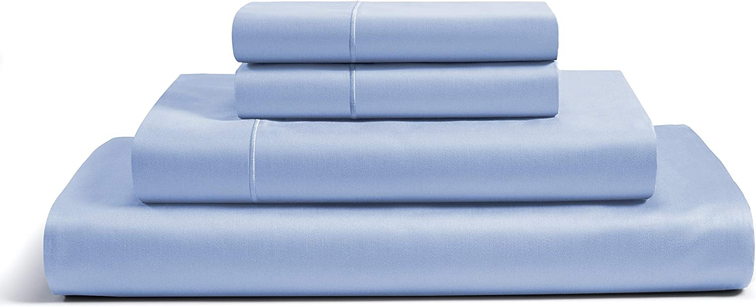 CHATEAU HOME COLLECTION 100% Egyptian Cotton Sheets Full Size, 800 Thread Count Blue 4 Piece Sheet Set, Solid Sateen Weave, 16