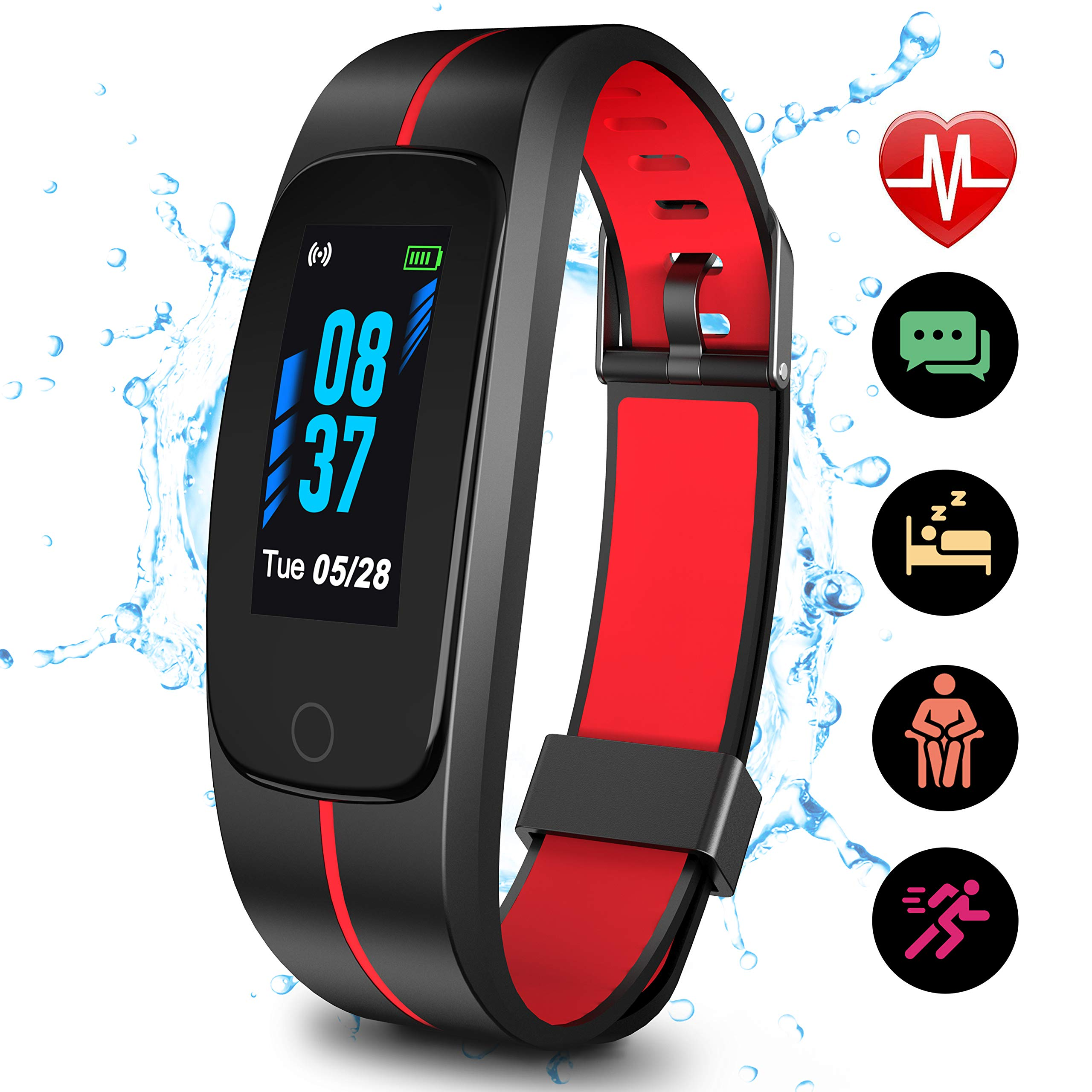 Updated 2019 Version High-End Fitness Tracker HR, High-End Activity Trackers Health Exercise Watch with Heart Rate Sleep Monitor, Smart Band Calorie Step Counter, Pedometer Walking for Men Women Kids by SKYGRAND