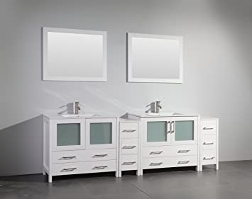 Vanity Art 96 inch Double Sink Bathroom Vanity Set with Ceramic ...