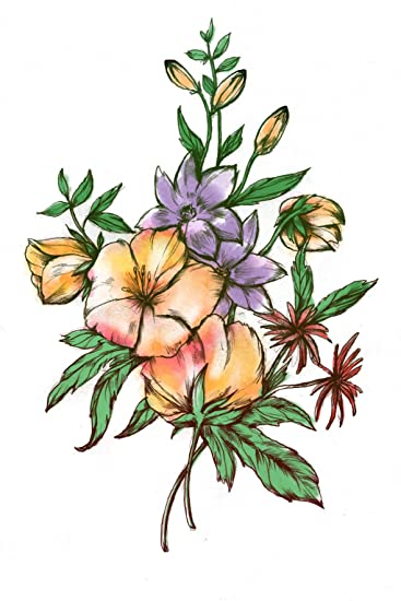 Amazoncom Watercolor Flower Bouquet Temporary Tattoo Realistic