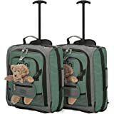 MiniMAX Childrens/Kids Luggage Carry On Trolley Suitcase with Backpack and Pouch for Your Favourite Doll/Action Figure/Bear (2 X Green +Teddy)