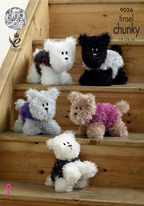 King Cole 9056 Knitting Pattern Westies Dog In Tinsel Chunky By