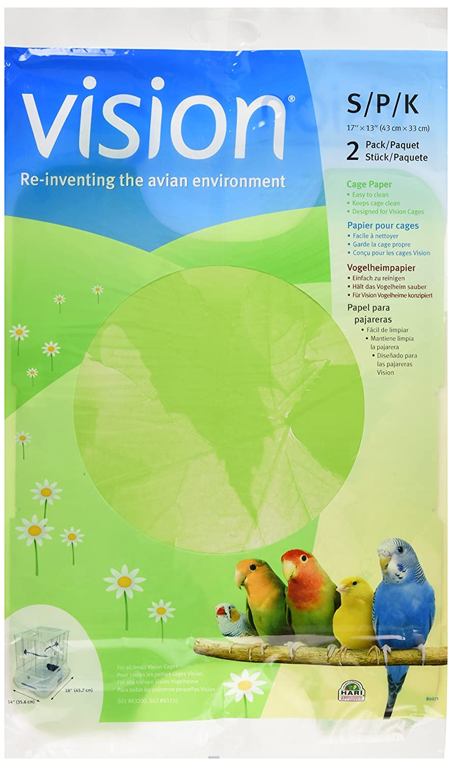 Vision Bird Cage Paper, Small 17-Inch by 13-Inch 80271