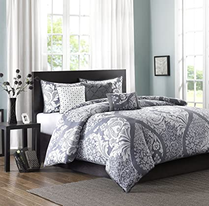 Amazon Com Madison Park Vienna King Size Grey Damask Duvet Set 6 Piece Cotton Light Weight Bed Comforter Covers King Cal King Slate Home Kitchen