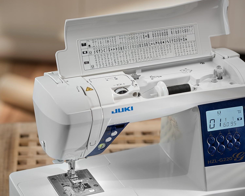 JUKI hzl-g220 máquina de Coser electrónica con cortaalambres automático Metal/PVC Blanco 44,5 x 22,3 x 29,2 cm: Amazon.es: Hogar