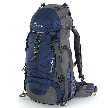 Syming Mochila Senderismo con Cubierta De Lluvia,para Aventura,Al Aire Libre,Viaje,Camping,Impermeable (50L Azul Oscuro): Amazon.es: Deportes y aire libre