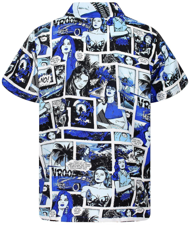 King Kameha Funky Hawaiian Shirt for Men Short Sleeve Front-Pocket Comic Superhero Multiple Colors