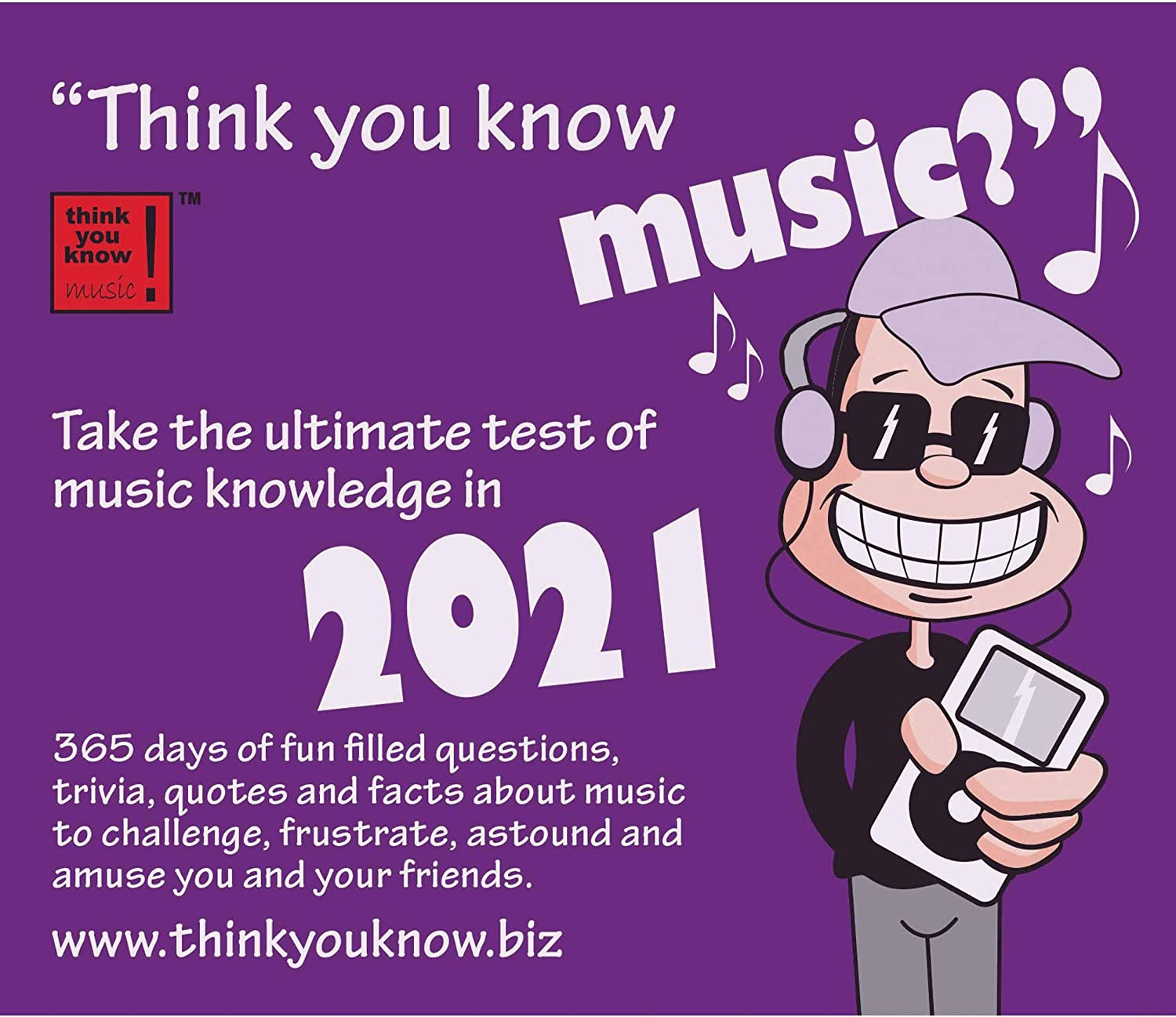 Think You Know Music Day to Day Box Calendar 2021 Including Blank Fridge Magnet