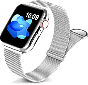Sunnywoo Metal Stainless Steel Band Compatible with Apple Watch Bands 38mm 40mm 42mm 44mm,Silver Loop Adjustable Strap Magnetic Replacement Wristband for iWatch Series 6 5 4 3 2 1 SE for Women Men
