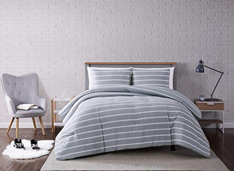 Truly Soft Everyday Truly Soft Maddow Stripe Comforter Set Twin Xl Grey Home Kitchen