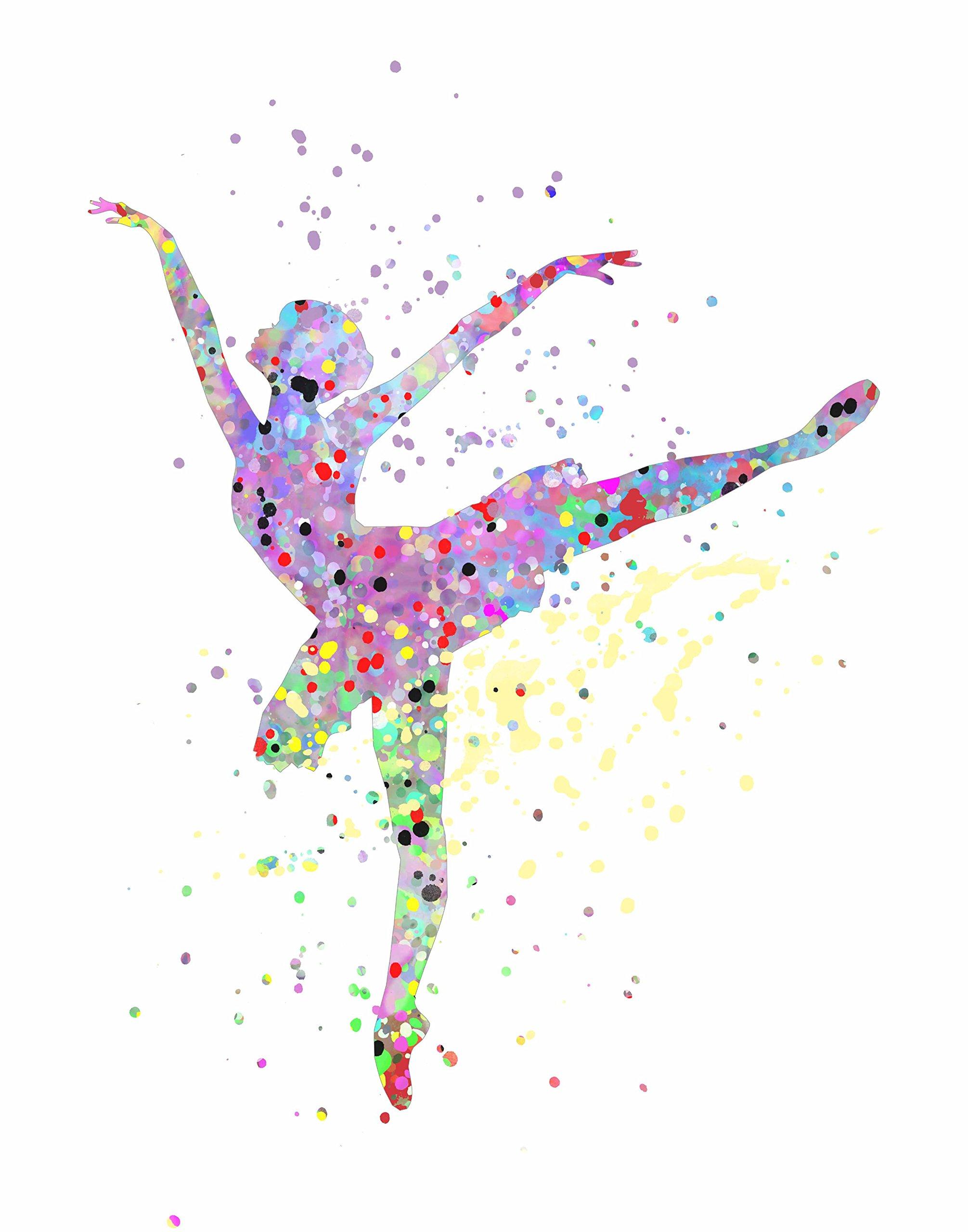 ArtDash Pop Art Print: Watercolor Splatter: BALLERINA (8''×10'' print)