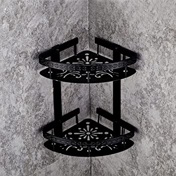 wbxyzyc Estantería de baño Negro Antiguo triángulo Doble Estantería Esquina Cesta baño Ducha Racks de Montaje en Pared Toallas baño de Hardware,b: ...