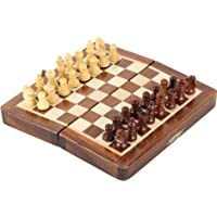 Pytho Handmade Wooden Chess Set with Magnatic Board and Hand Carved Chess Pieces | Size: Small, Measurement: 7 X 7 Inches (Open), 7 X 3.5 Inches (Folded) | Pocket Travel Chess