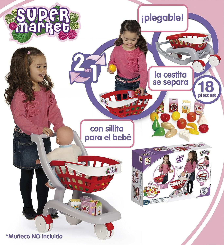 Chicos - 2 en 1 Mi primer carrito de supermercado, multicolor (Fábrica de Juguetes 84158): Amazon.es: Juguetes y juegos