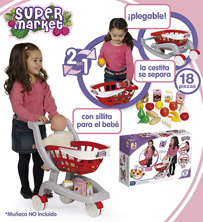 Amazon.com: Chicos – 2 in 1 My First Supermarket Trolley 84158: Toys ...